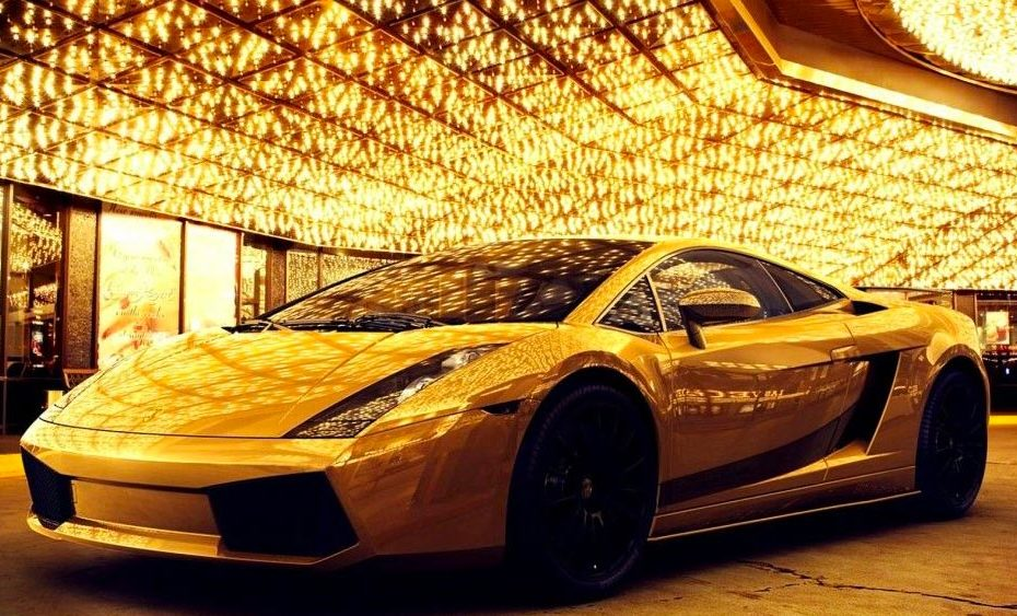Golden Car - illustration of spending money